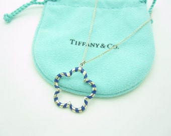 Tiffany & Co. Paloma Picasso Sterling Silver Blue Enamel Venezia Palina Flower Necklace 18""