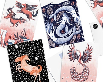 Pack of 8 Papio Press Unicorn, Pegasus, Phoenix, Mermaid Mythical Creatures Postcards