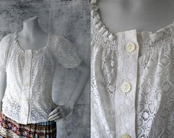 1970s Vintage Peasant Blouse Cotton Floral Lace Top Peggy Lane Boho Hippie Shirt Size Medium Shirt Lace Blouse Button Front Shirt White Top