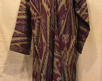 Antique uzbek İkat chapan clothes