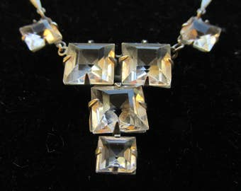 Art Deco Faceted Crystal Lavaliere Necklace. Square Cut faceted Stones, Silver Tone Chain. Bridal Necklace
