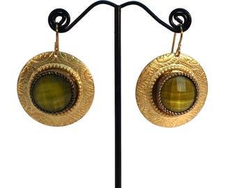 Petite Rosemal Earrings, Olive Green Earrings, Faceted Earrings, Nickle Free,  Hypo Allergenic, Green Earrings, Repurposed Earrings, Reused