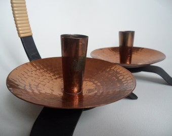 FS copper and iron candle holder set,2 Vintage candle holder,copper and black metal,candlestick holder