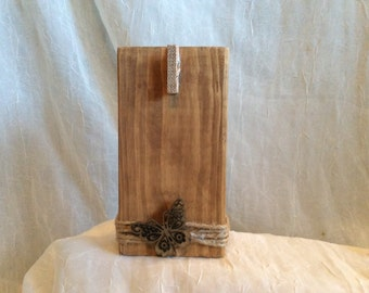 Wood Photo Block, Rustic Wood Note Block, Wood Photo Block with Buttterfly, Teacher Gift, All Occasion Gift, One-of -Kind Wood Photo Block