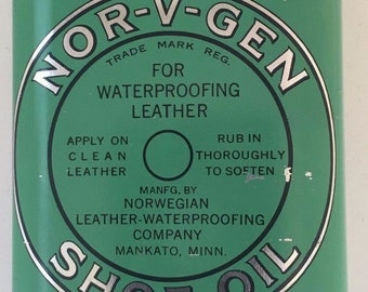 Vintage Nor-V-Gen Leather Boot Shoe Oil Tin 60% Full Metal 7 oz Can Mankato MN 1950's Perfect for Red Wing Boots!