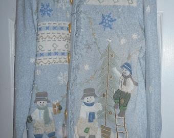 Erika Cardigan Sweater Snowmen Fringe Small Snowman
