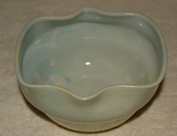 Bowl, Serving Bowl, Salad Bowl, Altered Rim Bowl, Stoneware, Ceramic Bowl, Blue, Off White, Green,