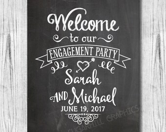 Engagement Party Sign, Printable Chalkboard Welcome Engagement Party Sign, Engagement Party Decor, Engagement Party Signage