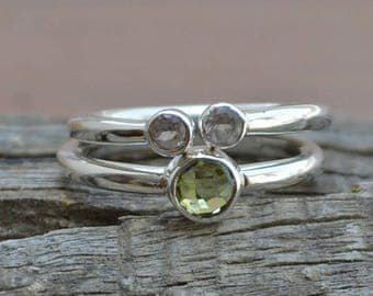 Green Gold, White Topaz Gemstone Ring, Double Tinny Rings, 925 Sterling Silver Ring, Birthstone Rings, Two Wedding Ring, Women's Gift Ring