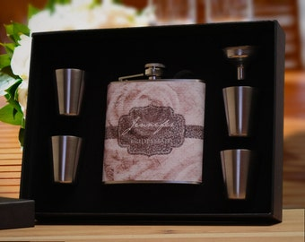 4 Bridesmaid Gifts, Personalized Flask Gift Sets for Bridesmaids