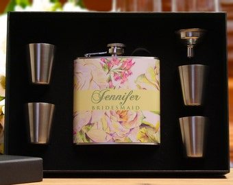 Flasks for Women, Set of 3, Bridesmaid Gifts, Personalized Flasks, Green, Floral Wedding
