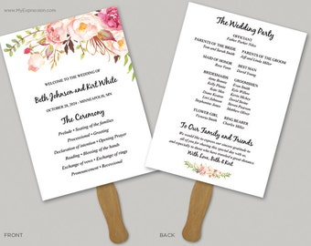 Blush Watercolor Roses 5x7 Wedding Program Fan Template (8379) - INSTANT DOWNLOAD Template - Ready to Print - Editable PDF