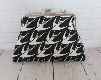 "Framed Clutch purse - black and white - swallows - 8"" metal frame clutch purse - medium purse - wrist strap"