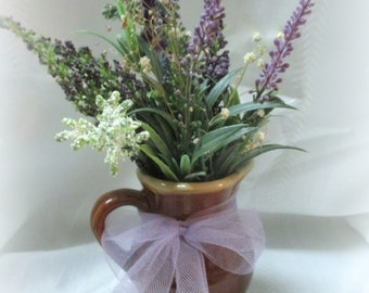 Lavender Bouquet in Small Brown Vintage Pitcher