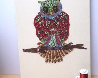 """Owl Textile Wall Art, """"Wise Old Owl"""", Original Textile Embroidery Picture 38 x 28.5 cm Home Decor"""