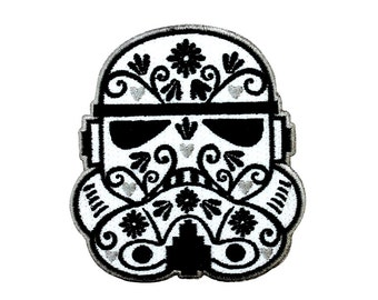"3.4"" DAY of THE DEAD storm trooper sugar skull patch Embroidered Iron on patch"