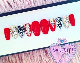 NAILED IT! Hand Painted False Nails - Red Crystal Henna