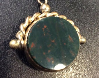Gold swivel fob ,carnelian and bloodstone