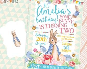 5 X Personalised PETER RABBIT Bunny Birthday Party Invitation Invites Flower Garden Stationary