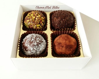 25 Boxes - Set of 4 Classic Chocolate Truffles /Chocolate Brigadieros /Wedding favors /Party Favors /Chocolate gift box /Corporate gifts