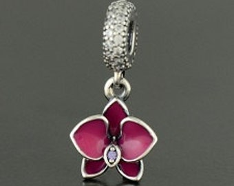 Pandora Sterling Silver Enamel Orchid Charm
