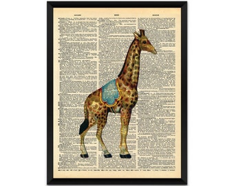 Picture, print, circus giraffe on a dictionary page wall art, illustration, poster,wall decor, A4, A3
