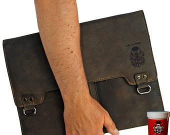 Briefcase folder CURIE made of brown buffalo leather