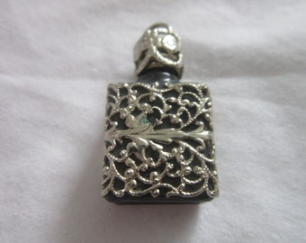 Old French Silver Filligree & Glass Perfume Bottle Necklace Pendant