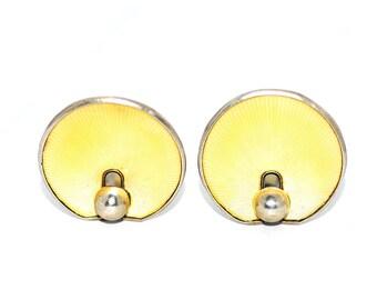 Summery Hans Myhre Norwegian Sterling Silver Yellow Guilloche Enamel Modernist Shell Clip Earrings, Vintage Norway Scandinavian Mod Jewelry