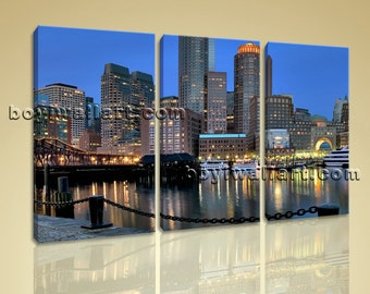 Large Boston Skyline Cityscape Photography Wall Art Print On Canvas BedRoom, Large Boston Wall Art, Bedroom, Royal Blue