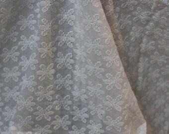 white Cotton eyelet fabric, embroidered fabric, white eyelet, womens clothing, indian fabric, dress fabric, cotton fabric, medallion