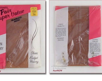 Two Pairs Vintage Seamless Stockings Seamless Nylons Size 9 1/2 Mint in Package (Inventory #M4634)