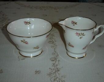Royal Stafford pink Rosebud gold leaves large cream and sugar VGU