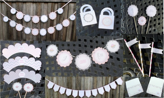 Girl Winter Birthday Party Package Pink and Gray Hot Cocoa Theme Party Decorations Girl Wonderland Girl Onederland Winter Party Banner