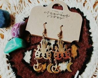 SALE! CHANDELIER MOON // Solid Raw Brass Large Statement Gypsy Mandala Earrings