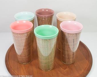 Raffia ware tumblers (6), insulated glasses, mid century glasses, colorful plastic tumblers, straw-lined glasses, set of 6 raffia ware cups