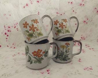 Floral Speckled Mugs (Set of 4). Floral Mugs. Speckled Mugs. Vintage Mugs.