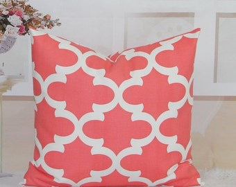 SALE Coral Pillows Solid Coral Decorative by HomeDecorPillows