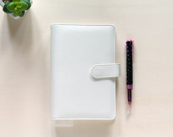 Personal planner binder, planner organizer A6, white Macaron planner in leatherette