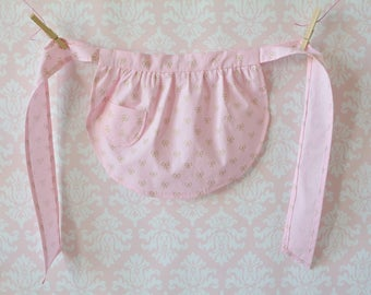 Cake for Breakfast Aprons - Pink Half Aprons, Gold Bows, Women, Girl, Mommy and Me Aprons, Vintage, Apron Set, Mother and Daughter