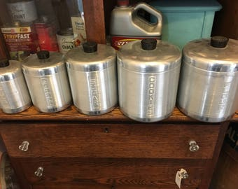 Vintage 5 Piece Canister Set, Flour, Sugar, Coffee, Tea , Cookies
