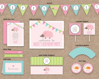 Hedgehog 1st Girl Birthday Package WITHOUT Invitation, Woodland Toadstools, Spring, DIY Printable
