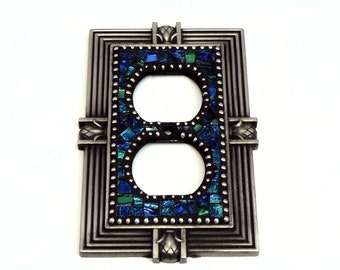 Mosaic Outlet Plate - Electrical Outlet Cover - Outlet Cover - Blue Outlet Cover - Blue Electrical Outlet Cover - Light Cover