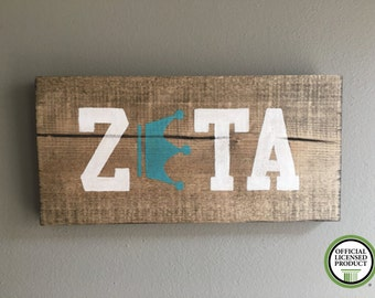 Zeta Tau Alpha wood handmade sign outline turquoise Crown Officially Licensed