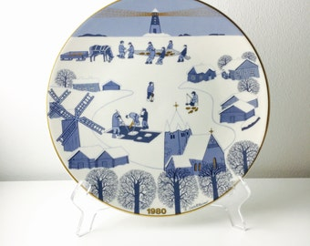 Very cute vintage Arabia Finland ceramic year plate, Raija Uosikkinen, 1980, Made in Finland