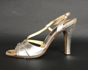 80s Silver Strappy Sandals, ladies Silver leather slingback 10 cm high heels ankle strap disco dressy open toe sandals EU 36, US 5'5, UK 3'5