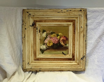 Tin Ceiling Tile, Large Painted Still Life, Architectural Salvage Folk Art