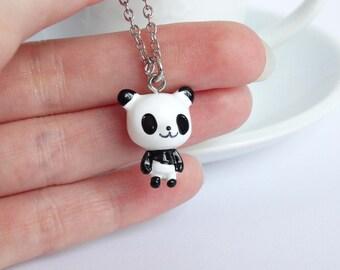 Funny black and white panda necklace charm pendant animal kawaii jewelry handmade