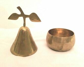 Vintage brass trinket box - vintage brass pear - vintage trinket box - vintage brass pear - brass fruit - vintage brass fruit - brass box