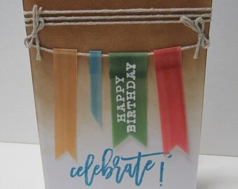 Handmade greeting card - Birthday card - Rustic - Banners - Celebrate - Gift for him - Gift for her